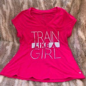 BEYOND YOGA train like a girl v-neck tee shirt